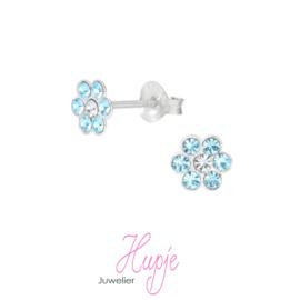 zilveren kinderoorbellen bloem blue crystals