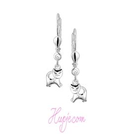 zilveren oorbellen kat met brisure sluiting