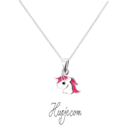 Silberne Kinderkette Einhorn rosa Mähne