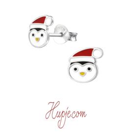 zilveren oorbellen pinguin kerstmuts