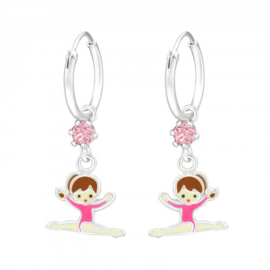 kinderoorbellen turn ballet meisje roze + + Swarovski® kristallen