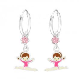 Kinderohrringe Turn Ballett Mädchen rosa ++ Swarovski® Kristalle