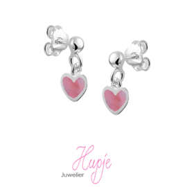 zilveren oorhangers roze hartje parelmoer