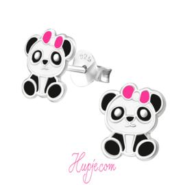 zilveren kinderoorbellen panda roze strikje