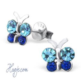 Silberne Ohrringe Schmetterlinge blaue Kristalle