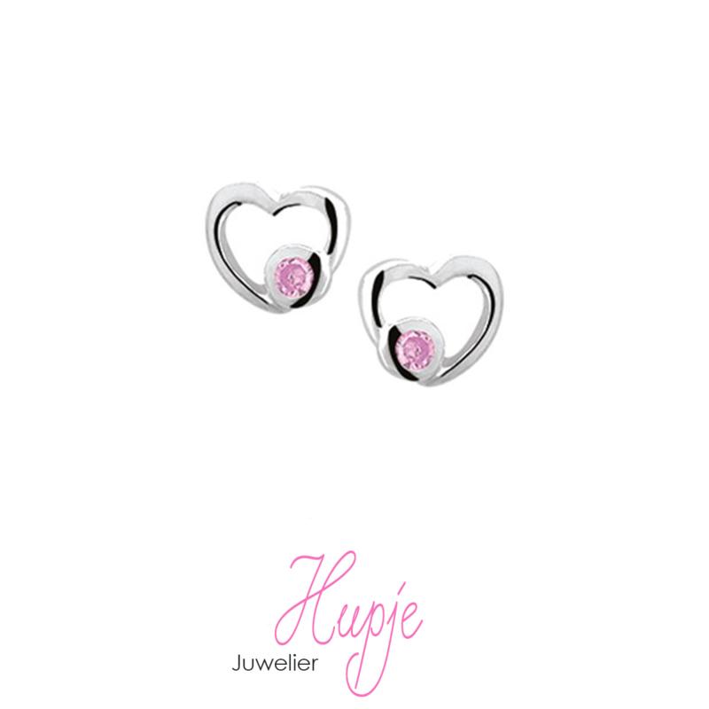 zilveren kinderoorbellen open hartje met  roze Zirkonia