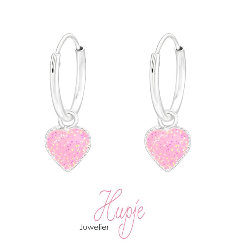 zilveren kinderoorbellen hartje roze glitter creolen