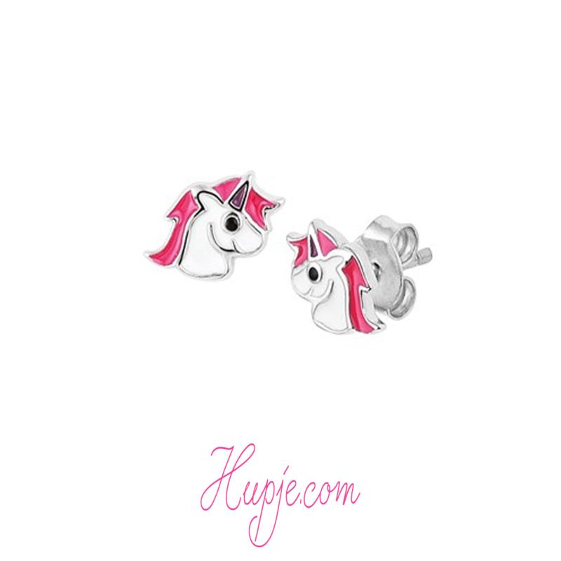 zilveren kinderoorbellen eenhoorn roze manen