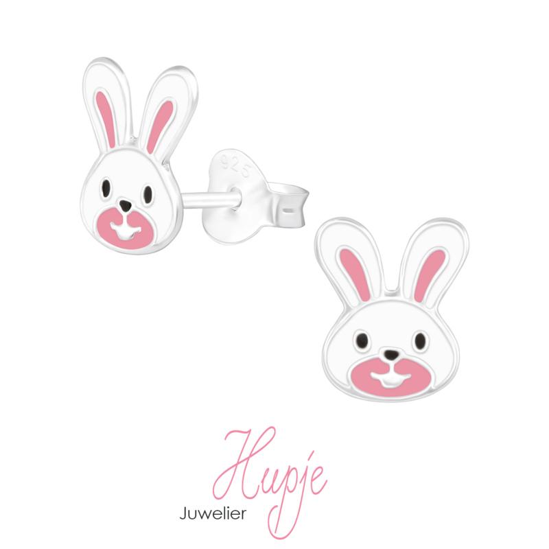 zilveren kinderoorbellen konijn roze wit