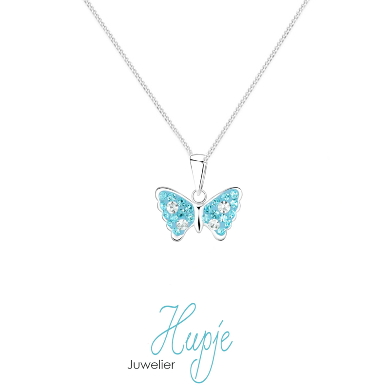 zilveren kinderketting vlinder Magic Blue Crystals