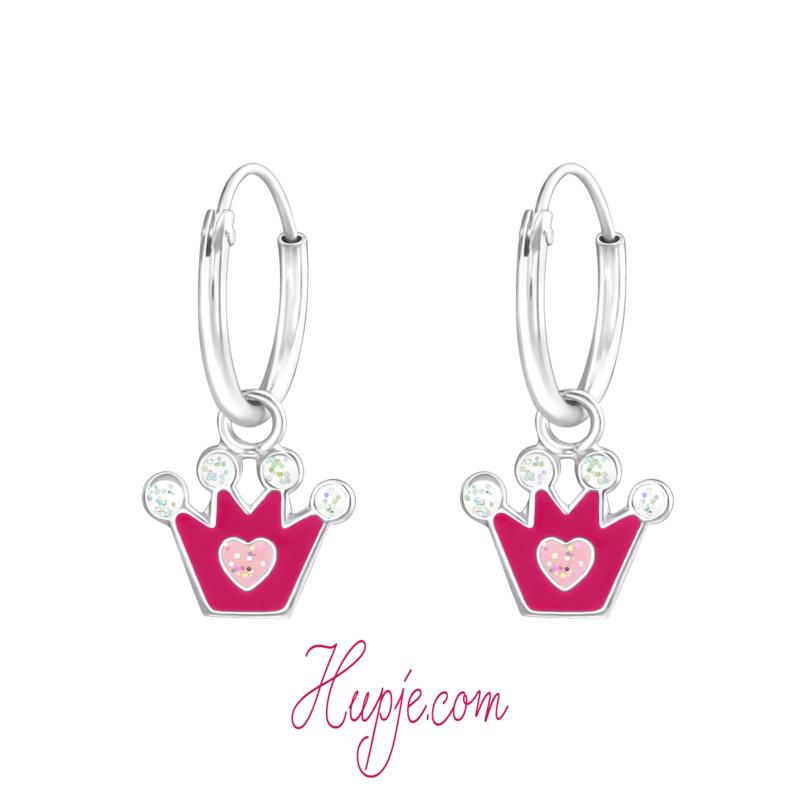 zilveren kinderoorbellen roze kroontjes glitter hartje
