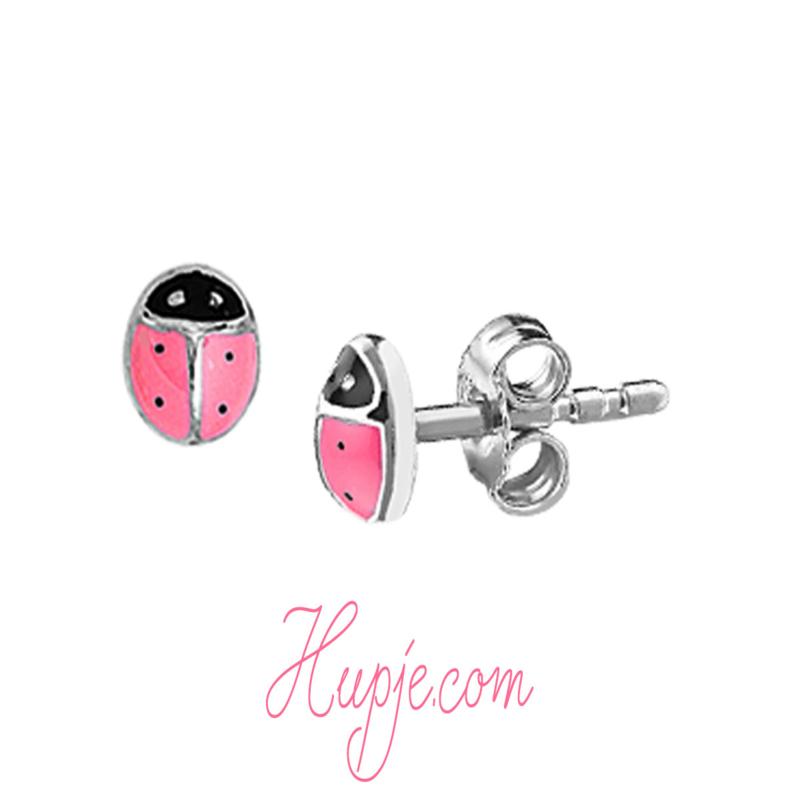 zilveren kinderoorbellen roze lieveheersbeestje