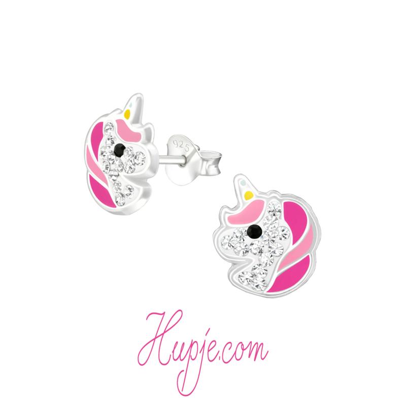 zilveren oorbellen eenhoorn Starlight roze + kristallen