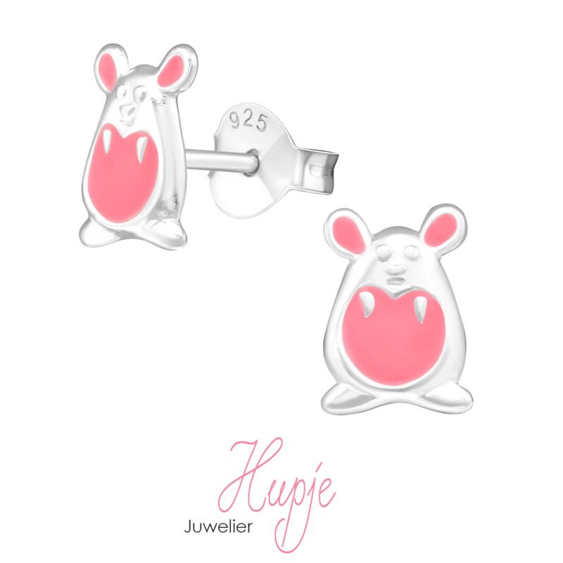 zilveren kinderoorbellen roze hamster