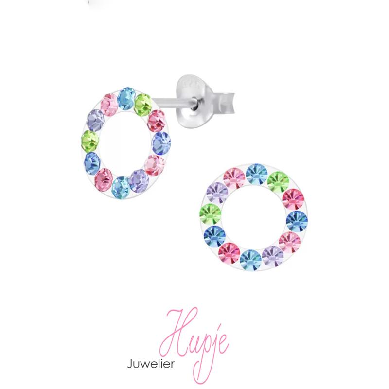 zilveren kinderoorbellen rondje regenboog kristallen