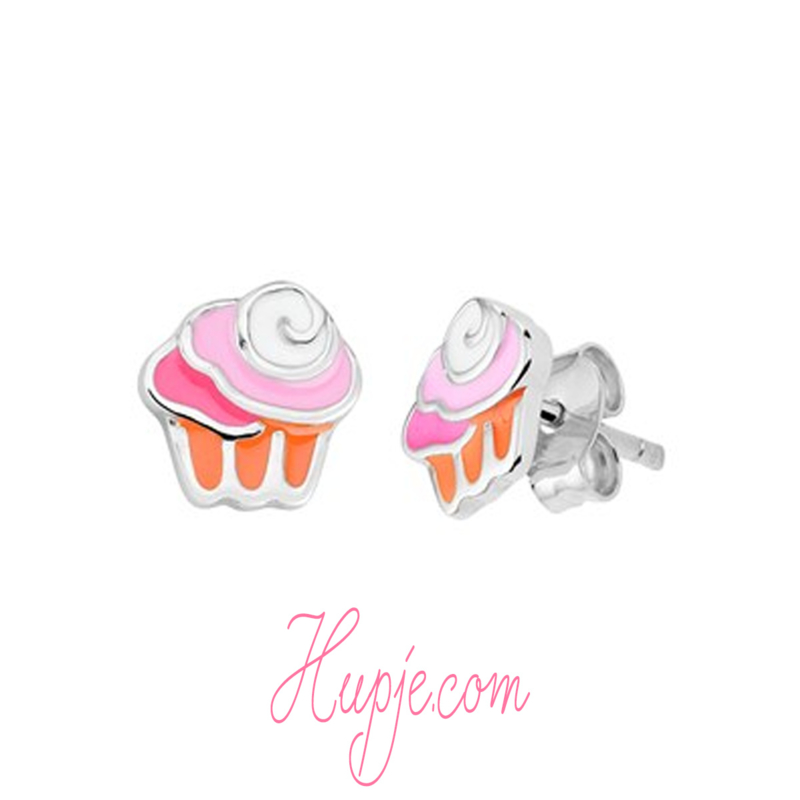 zilveren kinderoorbellen cupcake roze oranje