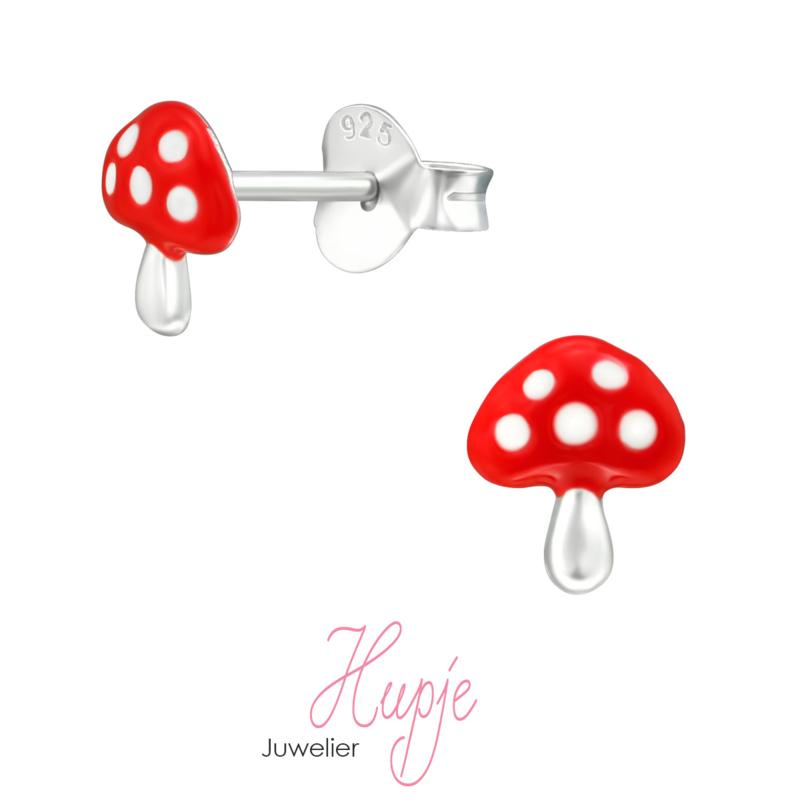 zilveren kinderoorbellen paddestoel rood met witte stippen