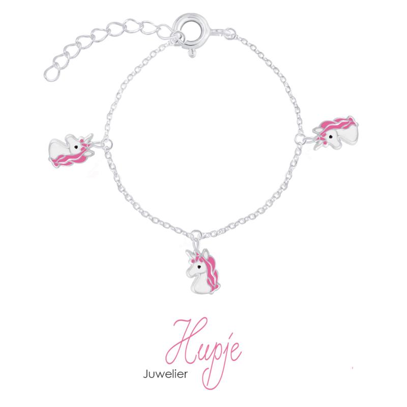 zilveren armband met drie eenhoorn bedels roze