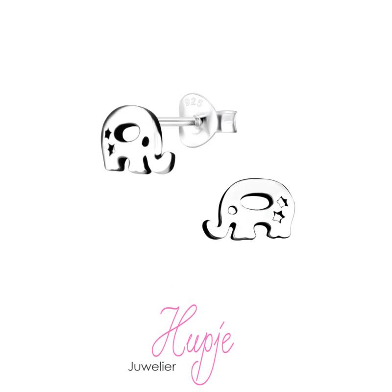 zilveren kinderoorbellen olifantje met twee sterretjes