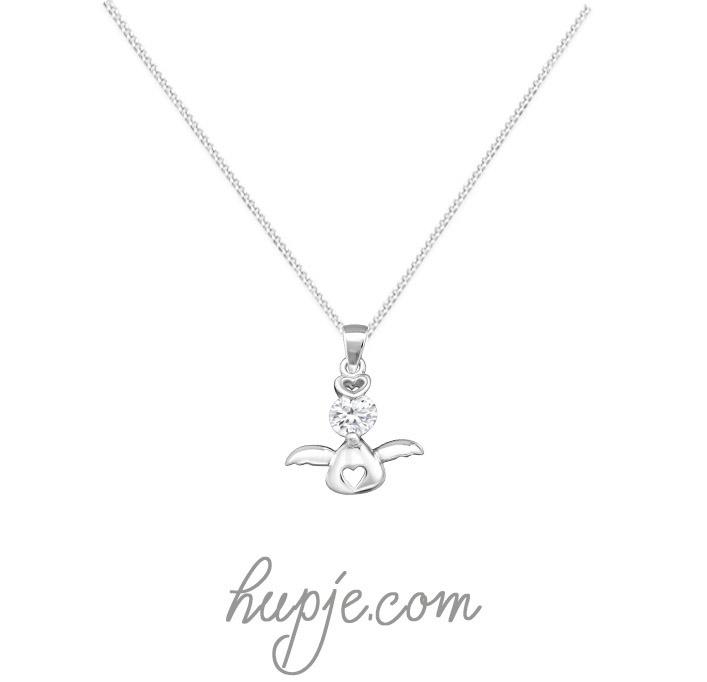 zilveren kinderketting bescherm engel kristal en hartje