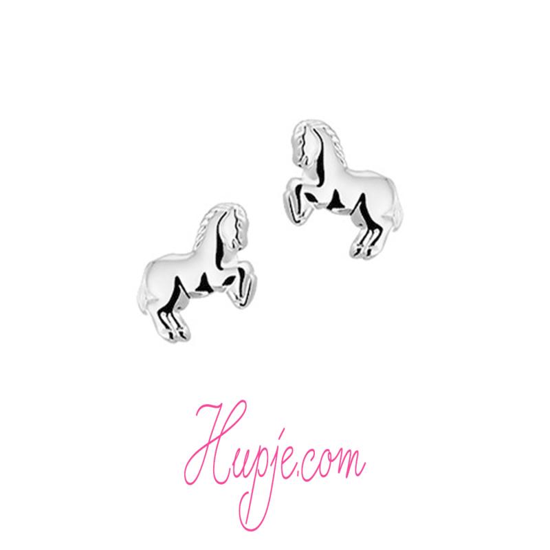 zilveren kinderoorbellen paard (premium)