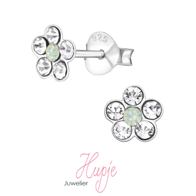 zilveren kinderoorbellen bloem Green Opal