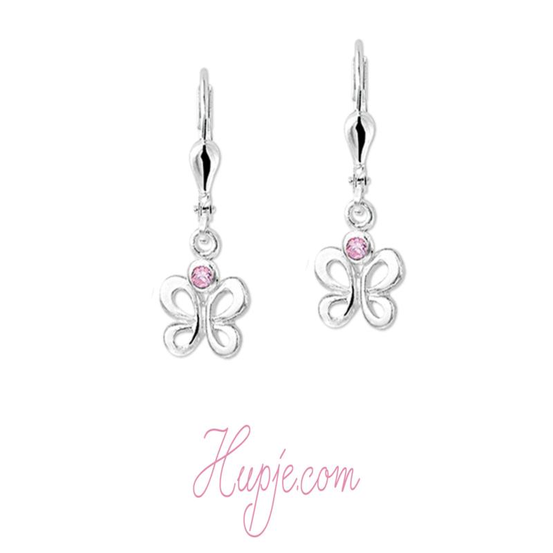 zilveren oorbellen vlinder met roze Zirkonia en brisure sluiting