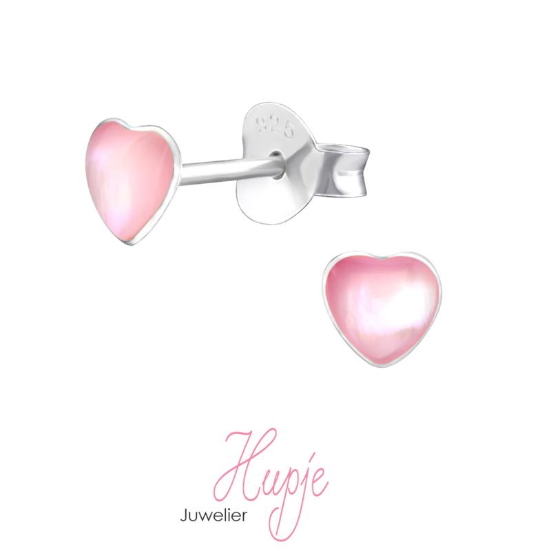 zilveren kinderoorbellen roze hartje Shine