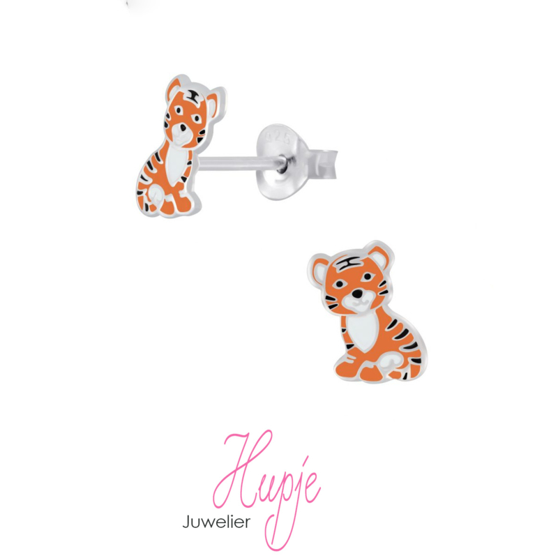 zilveren kinderoorbellen tijger