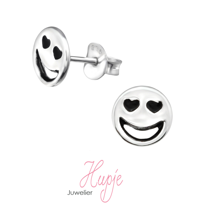 zilveren oorbellen emoji hartjes ogen