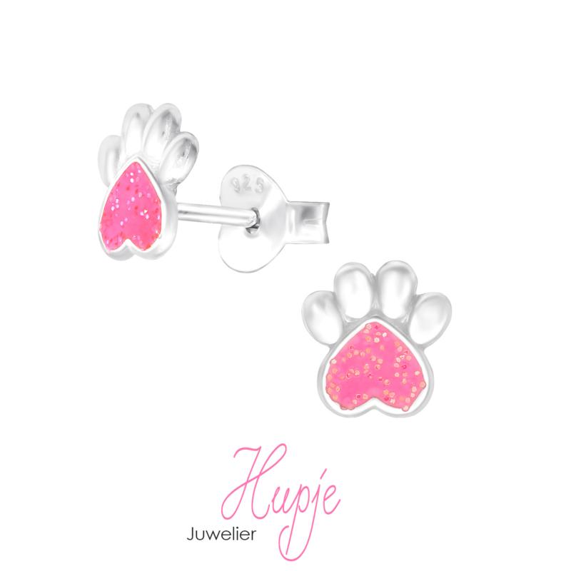 zilveren kinderoorbellen hondenpootje met roze glitter hartje