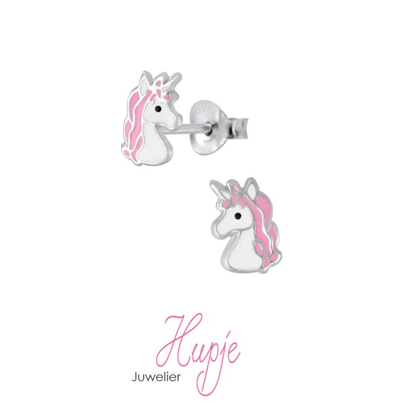 zilveren kinderoorbellen eenhoorn Gigi roze