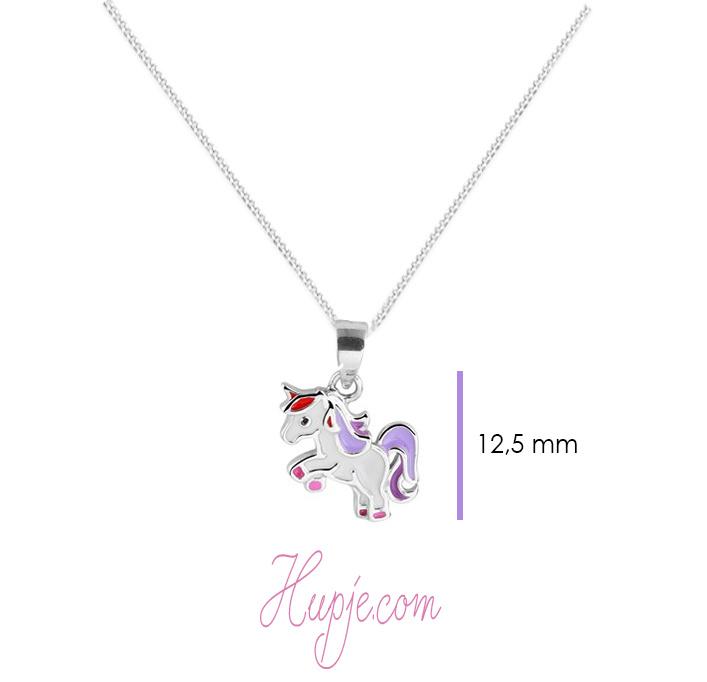 zilveren ketting eenhoorn paars roze