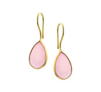 oorhangers geelgoud met roze chalcedoon