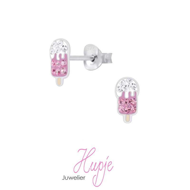 zilveren kinderoorbellen ijsje topping roze kristallen