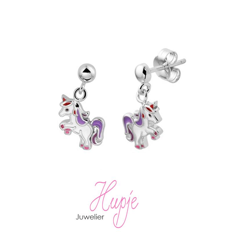 zilveren oorhangers Lilly paars  roze (Premium)