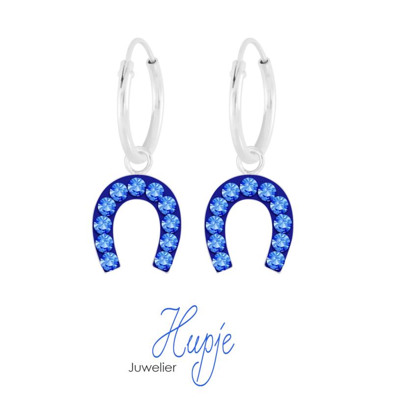 zilveren oorbellen hoefijzer Blue Crystals