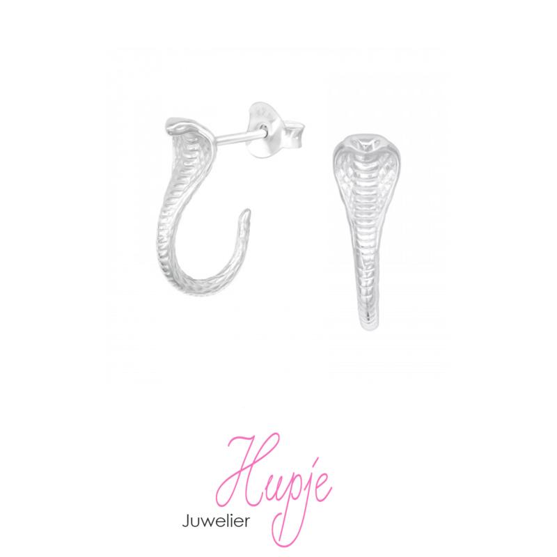 zilveren oorknopjes Cobra