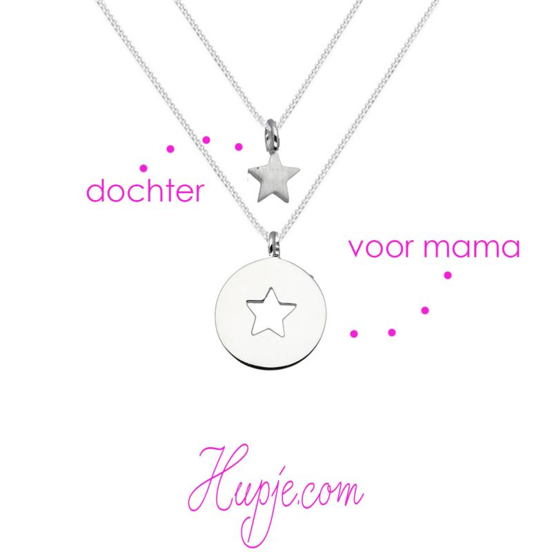 zilveren moeder-dochter set STAR (set van 2 kettinkjes)