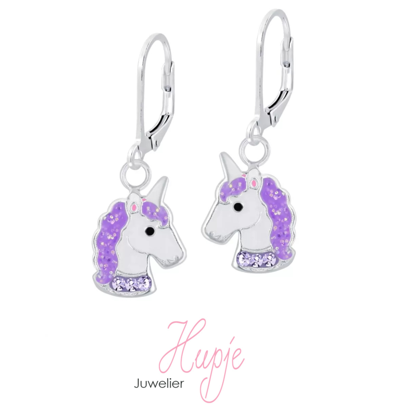zilveren oorhangers sparkling unicorns paars