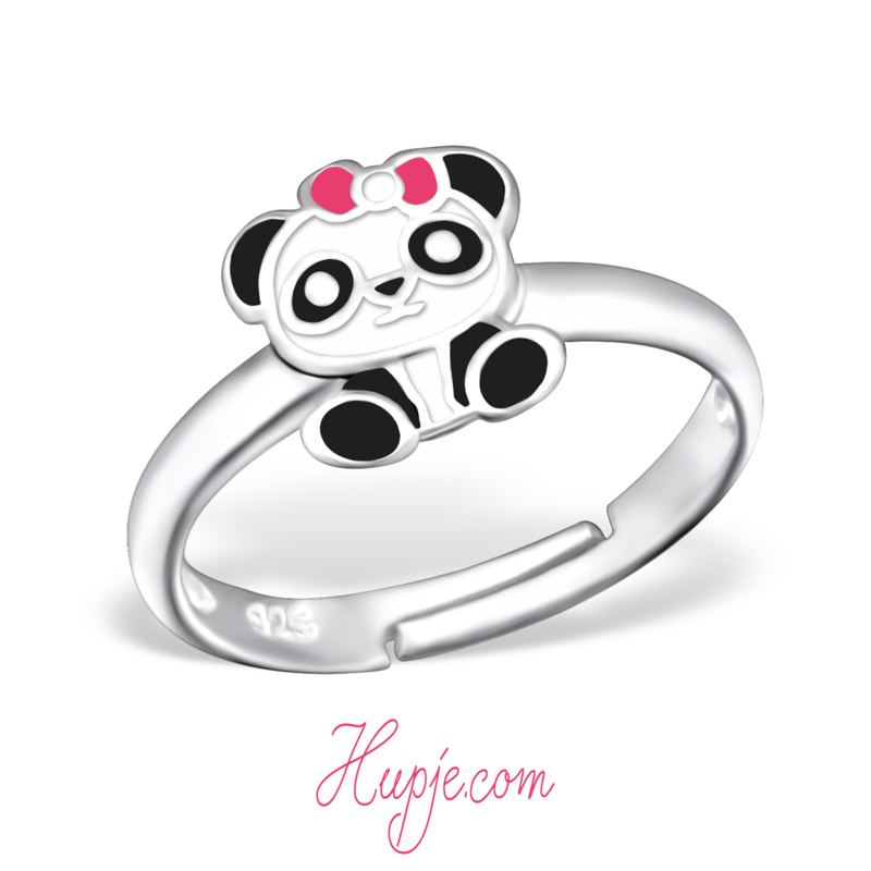 zilveren verstelbare kinder ring panda roze strikje