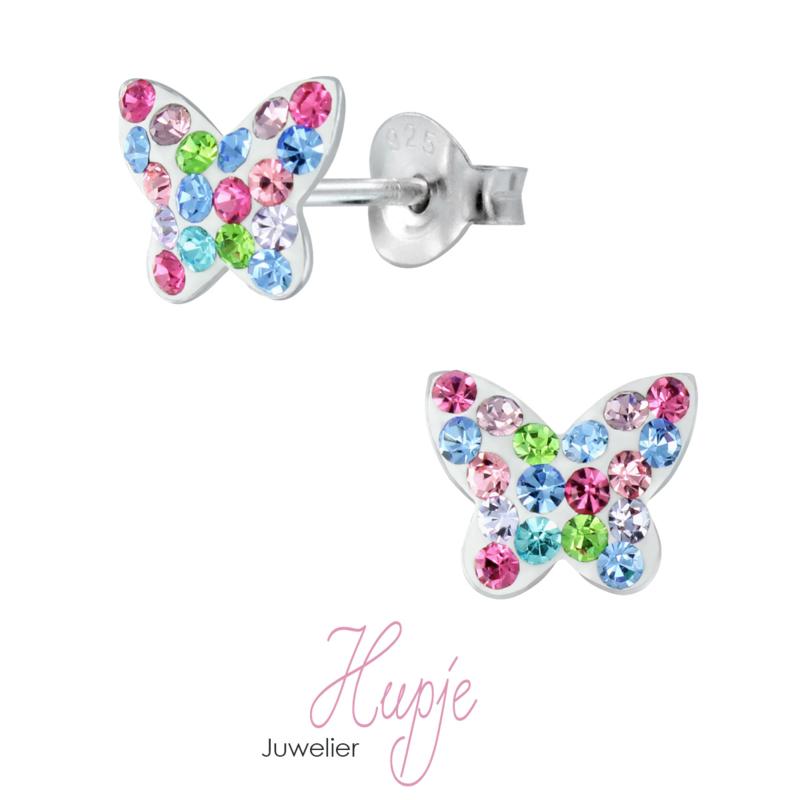zilveren kinderoorbellen vlinder Swarovski