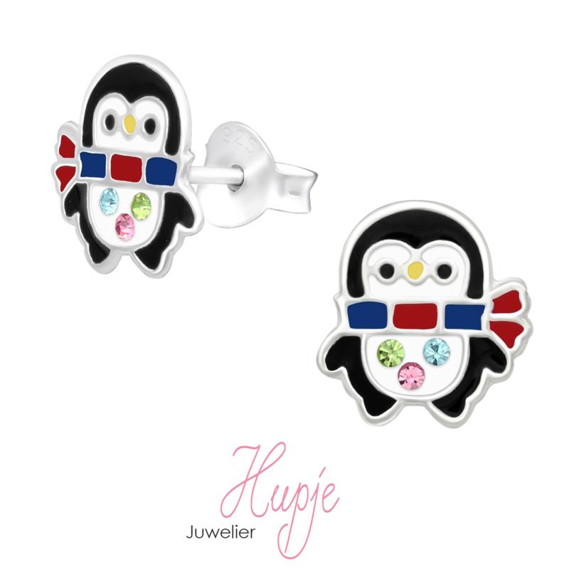 zilveren kinderoorbellen Pinguin + kristallen