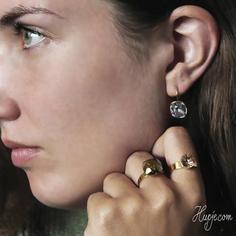BOHM PARIS earrings Swarovski Grey stone Gold