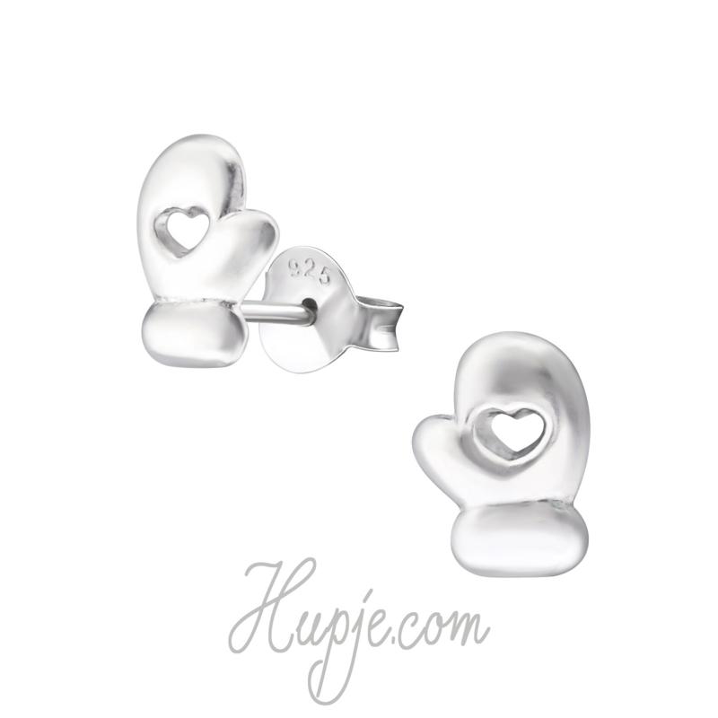 zilveren kinderoorbellen want + hartje