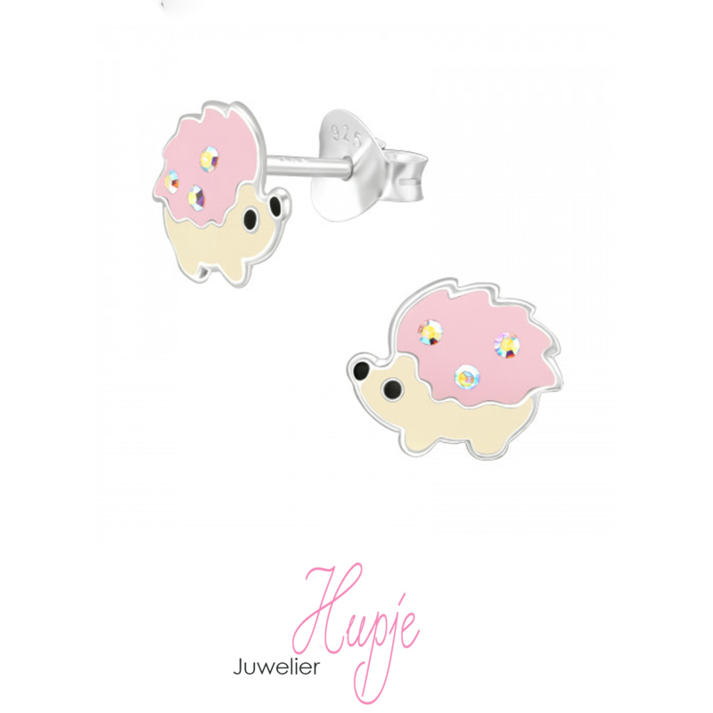 zilveren kinderoorbellen roze egeltje