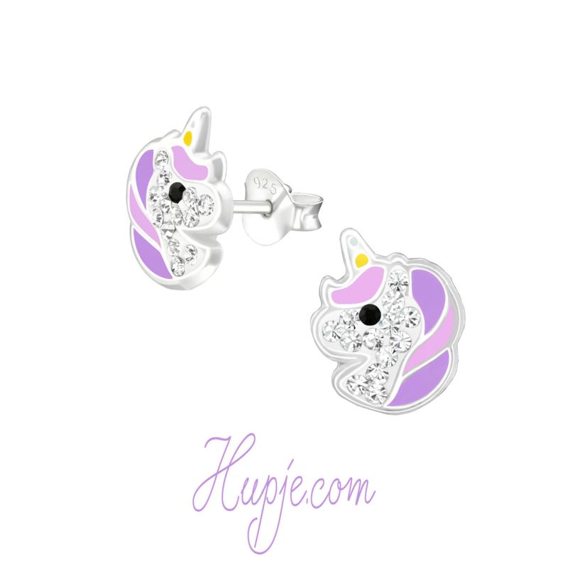 zilveren oorbellen eenhoorn Starlight paars + kristallen