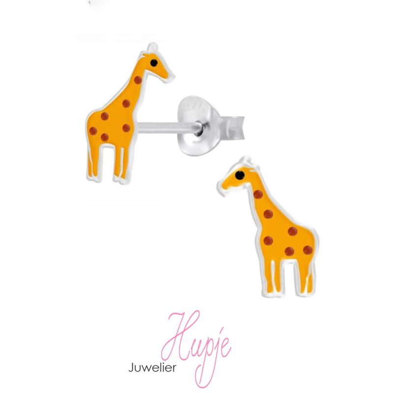zilveren oorknopjes giraffe