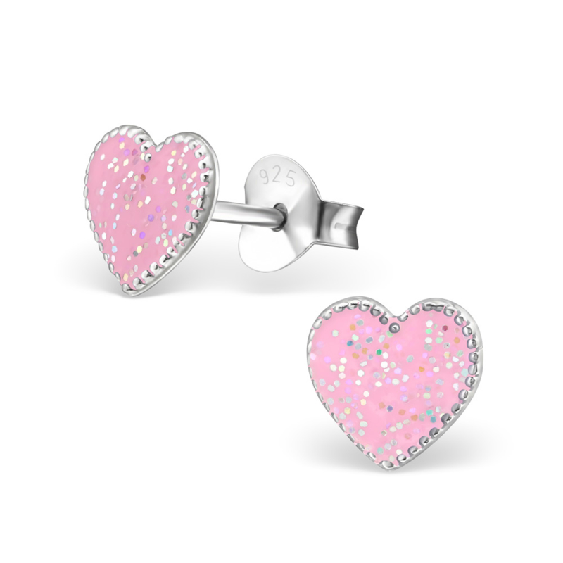 Silver earrings pink hearts with a sparkle