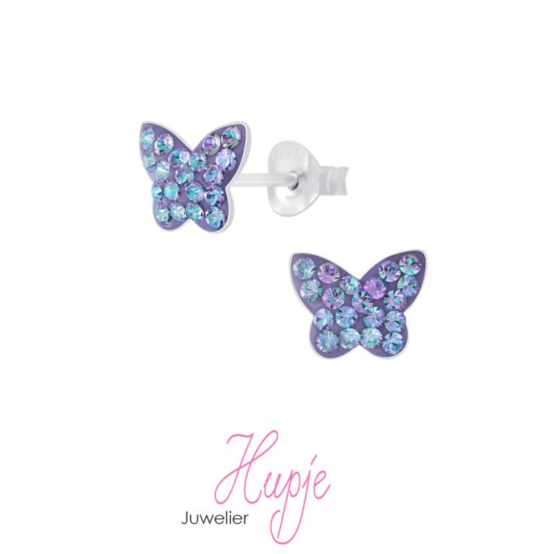 zilveren kinderoorbellen vlinder magic blue